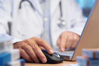 doctor using medical software